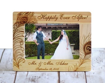 Personalized Wedding Picture Frame, Wood Frame, Wedding Shower, Bridal Shower Gift, Happily Ever After, Wedding Gifts, Gifts for couple