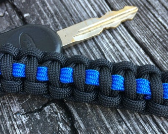 Thin Blue Line paracord keychain, Police Officer Wedding Party gifts, Retirement Party Favors, Corporate gifts, Wholesale orders welcome