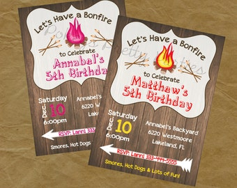 BONFIRE Birthday Party Invitation- Digital Personalized File to Print Boys or Girls - Smores Weeny Roast Campfire