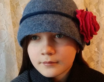 Wool felt hat.Merino wool.Alpaka.Natural wool.Wool flower.Women hat.Wet felting.Blue hat.Red flower.
