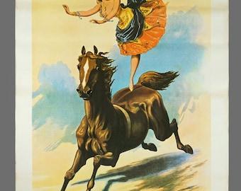 Vintage Ernestine Rose Cooke John Henry Cooke's New Royal Circus Poster 20.25 x 30.5