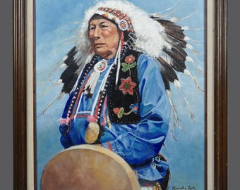Vintage Marcella Zank Native American Tribal Chief Oil Painting Vintage Art 24 x 20