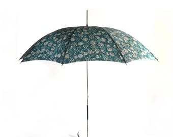 French Parasol, Woman Rain Umbrella, Mint Green Liberty Canvas Golden Chain