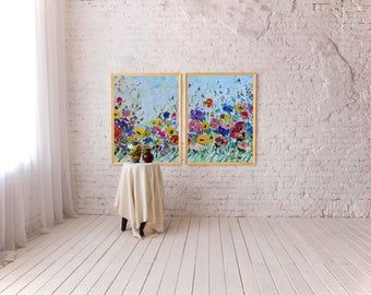 Large Wall Art Canvas Flowers Large Original Painting Abstract Bright Abstract Canvas Art Large Original Big Poster Painting Print Giclee