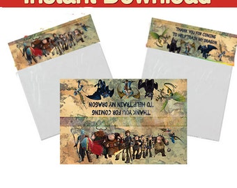 How to train your Dragon Party bag toppers, Foldable treat favor toppers /Train Your Dragon Party Favor Bag - Instant Download-two per page
