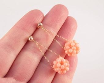 Bridal Gold Earrings 14K Gold Drop Earrings Coral Wedding Gold Dangle Earrings Antique Angel Skin Pink Coral Bead Cluster Gold Earrings Gift