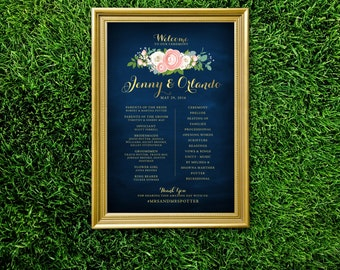 The JENNY . Program Large Printed Wedding Ceremony Sign. Peony Ranunculus Rose Garland Gold Calligraphy Navy Blue White Blush Dusty Miller
