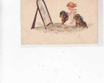 PM 1921 Girl Looking in Mirror With Her Two Dachshund Dogs Dackel Antique Postcard