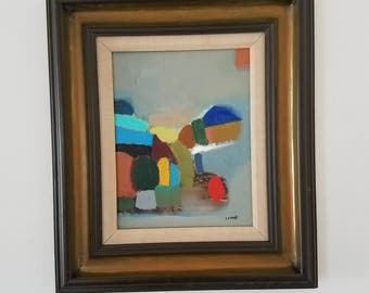 Mid century modern style painting with vintage wood frame