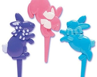 24 Easter Hopping Bunnies Cupcake Picks Cake Toppers Decorations Holiday Rabbit