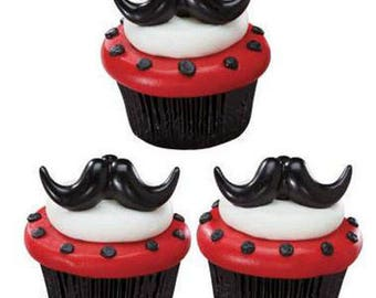 24 Stache Bash Mustache Moustache Cupcake Rings Decorations Cake Toppers Party Favors