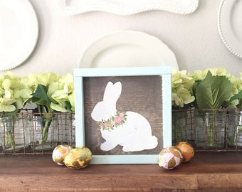 easter bunny wood sign