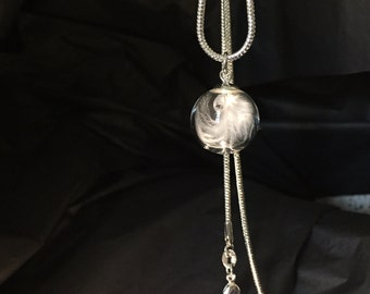 Glass orb necklace, feathers, angels, spiritual, silver, memory, when feathers appear an angel is near