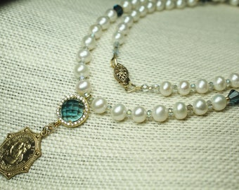 White Pearl St. Christopher Necklace; Woman's Catholic Jewelry