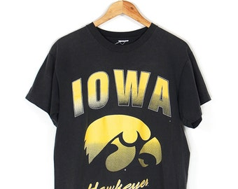 Vintage Iowa Hawkeyes T-shirt - 90s University of Iowa Hawkeyes T-shirt - 90s Iowa Hawkeyes Large Logo Black T-shirt Size LRG