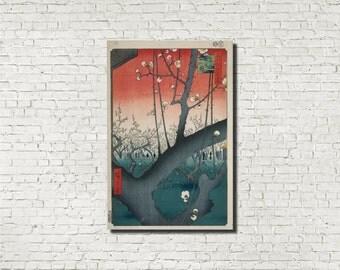Andō Hiroshige, Japanese Art, Old Masters Fine Art Print : The Plum Garden, Classical Art Iconic Landscape