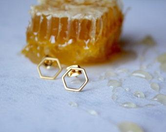 "Matte Gold Hexagon ""Honeycomb"" Stud Earrings"