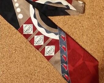 tie, necktie, TABASCO, 100% silk, men, menswear, clothing, vintage, accessories, craft supplies, foodie