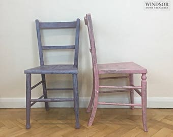 Pair of Vintage Chairs, Pink Chair, Lilac Chair, Hand Painted Chair, Bedroom Chair, Spare Chair, Desk Chair