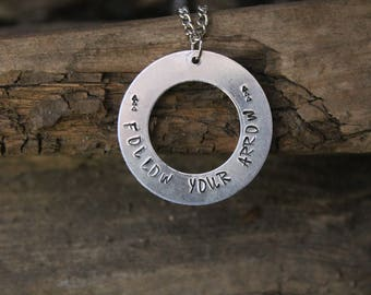 Life Quote Custom Stamped Necklace/ Quote Jewelry/ Custom Quote Necklace/ Stamped Necklace/ Metal Stamped Jewelry/ Metal Stamping