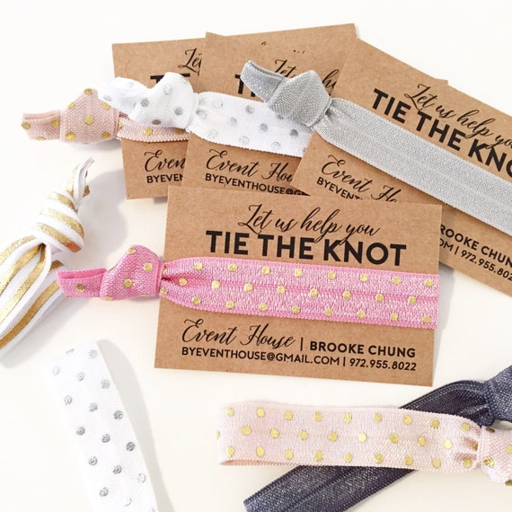 CUSTOM Promotional Hair Ties | Bridal Show Hair Tie Favors, Bridal Show Handouts Promos Gifts for Wedding Pros, Let Us Help You Tie The Knot