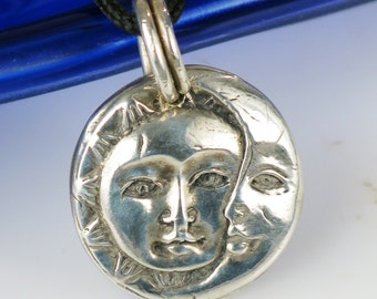 Sun Moon Celestial - Nautical Fine Silver Pendant - Optional Silver Chain or Leather Cord Necklace - Sun Moon Fine Silver Key Ring - Pendant