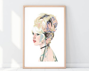 Brigitte Bardot Print| llustration art giclée print | fashion illustration print Brigitte Bardot | Flowers, fashion, art|A4|A3|A2|
