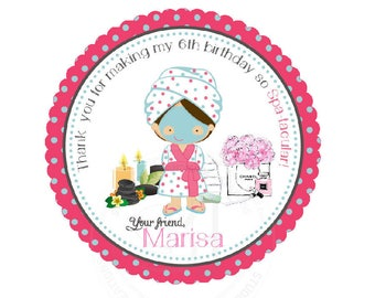 "Custom Spa Party Printable 2.5"" Tags-Personalized Beauty Theme Birthday 2.5 inches Tags- Stickers, DIY Spa Party Favor Tags"