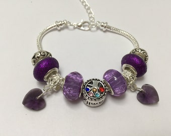 Bracelet charm's, purple, with charms hearts Crystal ref 833