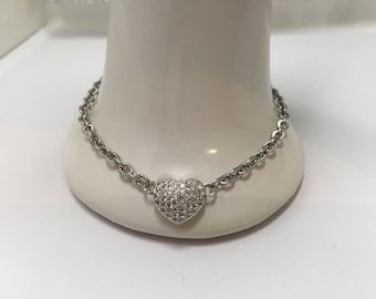Bracelet silvery with sparkling heart, special Valentine ref 839