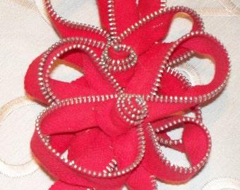 Flower Zipper Brooch, Zipper Flower Brooch Pin, Red Zipper Corsage Pin, Women's Jewelry, Handmade Zipper Pin
