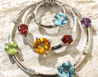 "14K White Gold Multi-Gemstone & .05 CTW Diamond 18"" Circle within Circle Pendant Necklace"