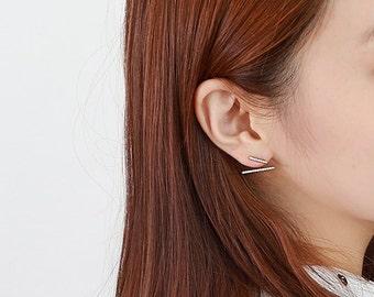 Bar earrings, Stick earrings, EAR JACKET, Double bar earrings, Bar Ear Jacket, Sterling Silver Post, front back earring