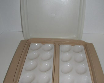 Vintage Tan Egg Tupperware Container with Lid / Egg Storage / Deviled Egg Container / Plastic Food Storage / Almond Tupperware