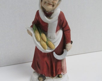 Vintage Napcoware Old Women Figurine Farmer Pheasant Collectible
