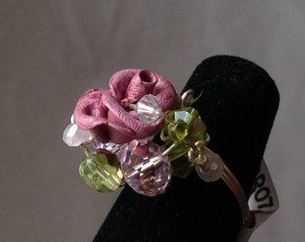RR07 Burgandy rose ring with pink and lime crystals, silver wire, size 6 1-2