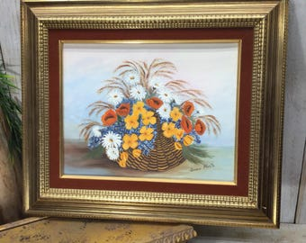 Still Life Paintings, Floral Oil Painting, Basket of Flowers, Bouquet of Flowers SIGNED painting, Oil on Canvas Painting, Flower Floral Art