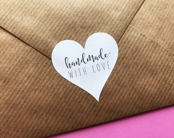 Handmade With Love Sticker, Heart Made With Love Label, Packaging Stickers, Wedding Invitations Labels, Favor Labels, Gift Wrapping Stickers