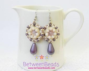 Purple Long Earrings, Dark Purple, Cream Earrings, Dangle Earrings, Beaded Earrings, Casual Earrings, Wedding Earrings, Drop Earring Gifts
