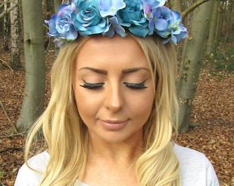 Turquoise Blue Hydrangea Rose Flower Headband Hair Crown Garland Festival 2080