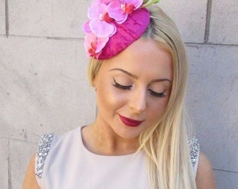 Hot Light Pink Velvet Orchid Flower Fascinator Hat Races Ascot Headpiece 2494