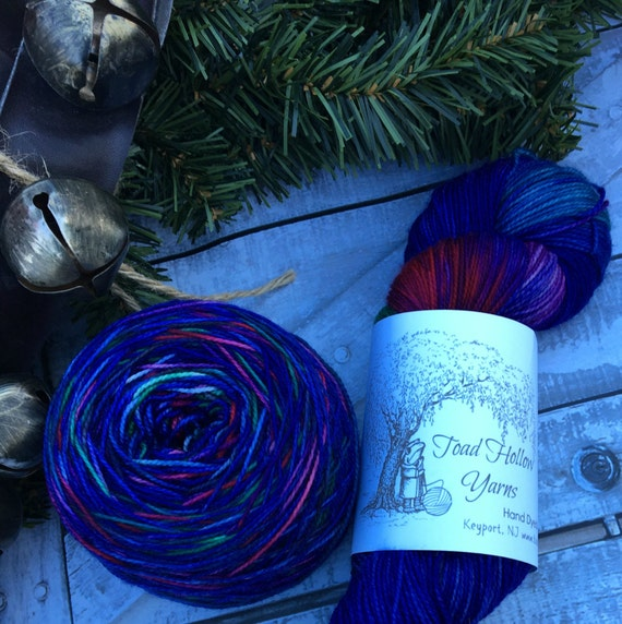 Hand Dyed Yarn - Teeka's Coat,Indie Dyed Yarn,Christmas Yarn,Superwash Merino,Nylon,Fingering Weight,Sock Yarn,Gift for Knitter,Indie Dyer