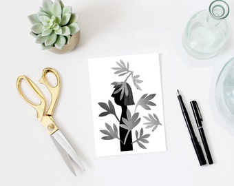 minimalist art, black and white print, woman print, collage, woman in leaves, nature, silhouette, notecard, 5x7, mixed media, wall art print