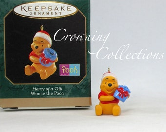1997 Hallmark Winnie The Pooh Honey of a Gift Miniature Keepsake Ornament Disney Vintage Hunny Pot Christmas