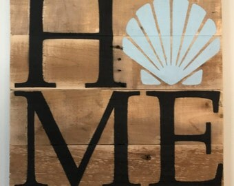 Shell HOME Sign  // Custom // Gifts for Her // Gifts for Him // Wedding // Pallet // Maryland // Beach // Bay