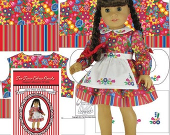 """18"""" Doll Clothes Kit - Alpine Dress and Apron in Red Print by Tea Time Fabric Panels - Fabric Panel, Notions and Sewing Guide Included"""