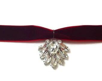Crystal Pendant Necklace - Crystal Choker Necklace - Crystal Necklace - Red Choker Necklace - Red Choker - Red Necklace - Christmas Necklace
