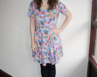 Vintage 90s Multi Coloured Multi Patterned Short Sleeved Dress Size Small (10)
