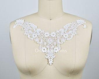 Delphine's Luxe White Venise Lace Applique. Neckline Piece. Cotton and Rayon Composition