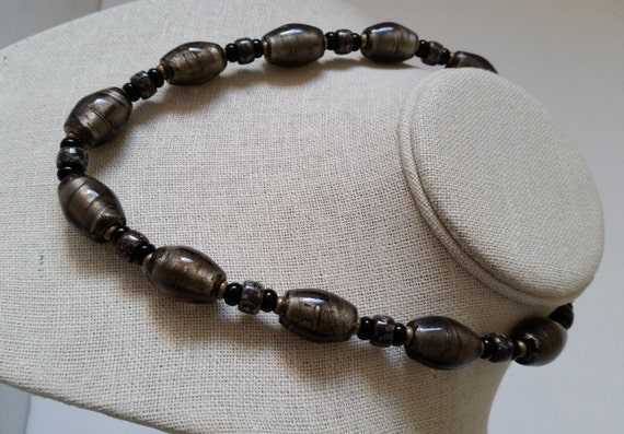 """SILVERFOIL GLASS BEAD Short 18"""" Necklace. Grayish-Brown Oval Murano Lampwork Foil Beads, Mottled Crow Beads, Brass, Copper Clasp."""